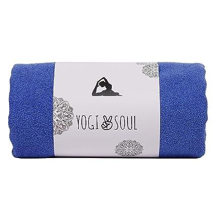 Yogi Soul HOT Yoga Towel mat Non Slip Corner Pockets-Fast dry-100% Microfiber-Anti Slip Design lab towel-72 inch-72 x 24-Free Carry Bag