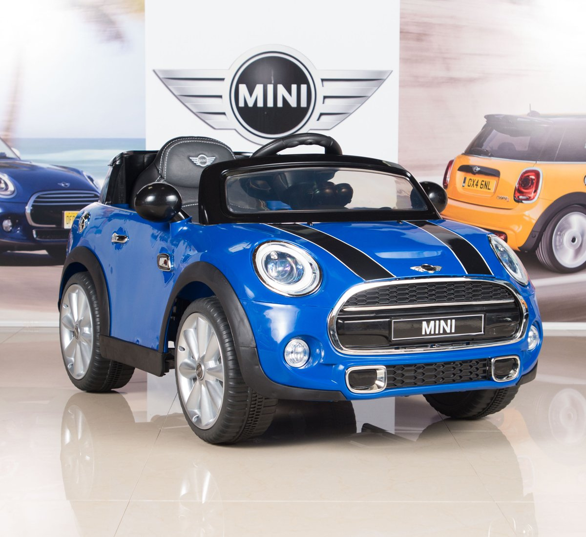 amazoncom bigtoysdirect 12v mini cooper kids electric ride on car with mp3 and remote control blue toys games