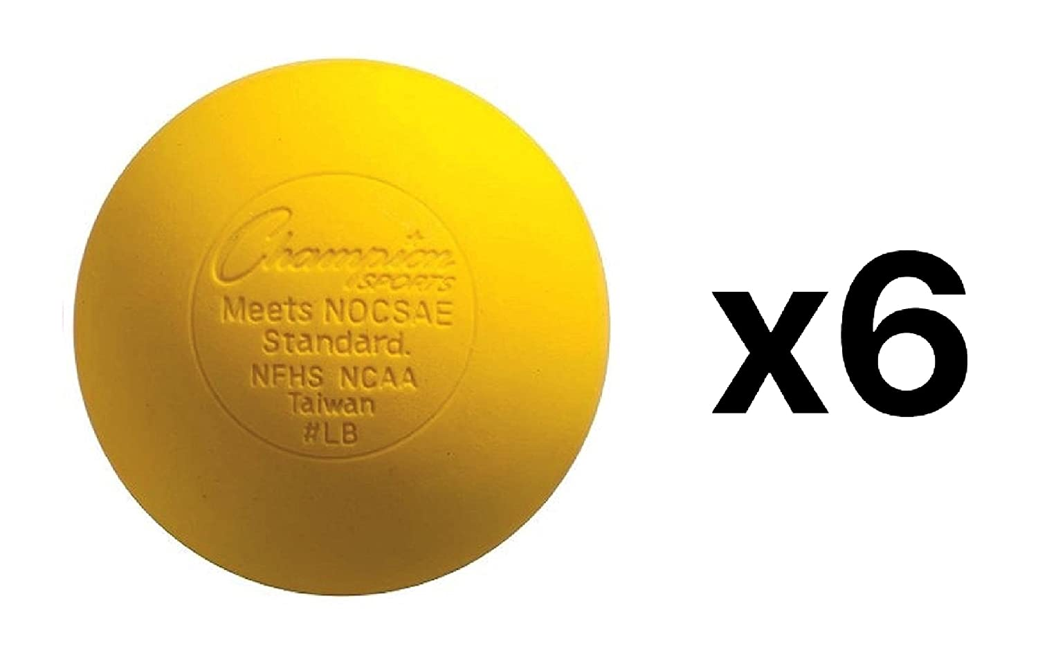 Champion Lacrosse Ball Official NFHS NCAA Massage Therapy-YELLOW (6-Pack) Champion Sports