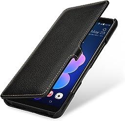 StilGut Housse pour HTC U12+ Book Type en Cuir véritable à Ouverture latérale, Noir avec Clip