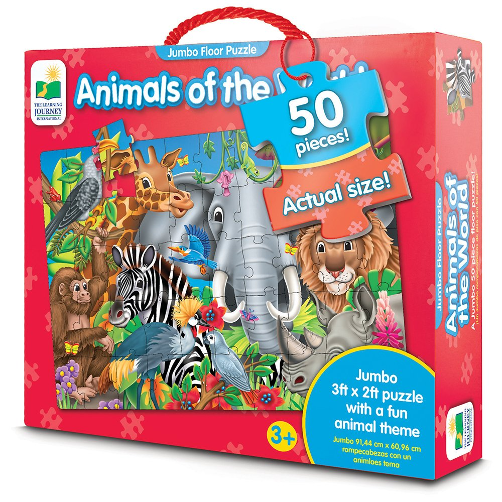 The Learning Journey Jumbo Floor Puzzles - Animals of the World - Extra Large Puzzle Measures 3 ft by 2 ft