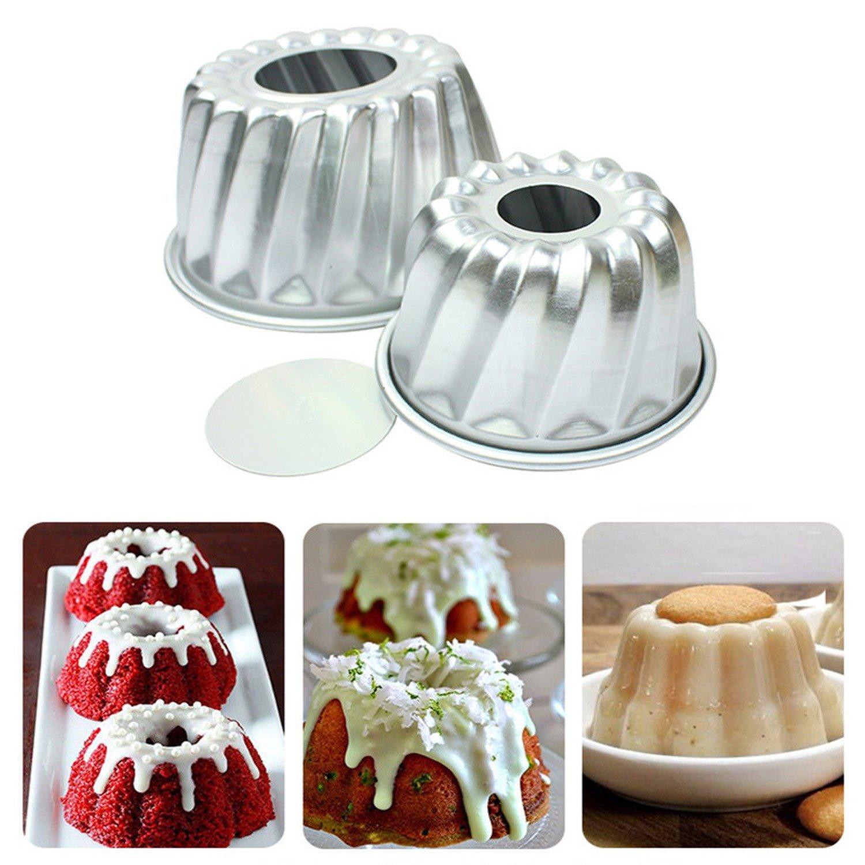 4pcs Aluminum Alloy Mini Savarin Cake Pan Cakes Bundtpan Diy Baking Tools Mold Tool Home Kitchen Supplies by Bundt Pans