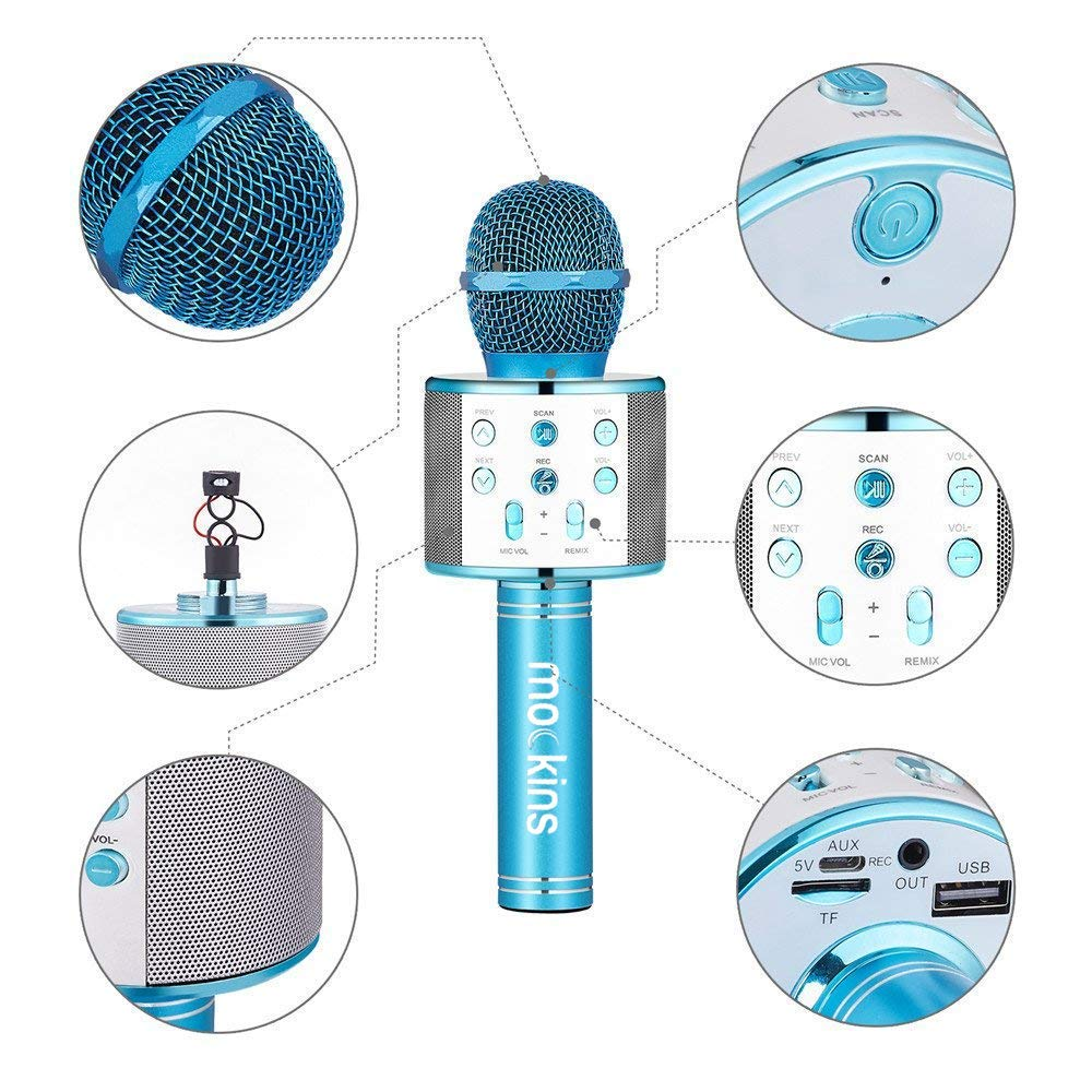 Compatible with Android /& iOS iPhone Mockins 2 Pack Blue /& Purple Wireless Bluetooth Karaoke Microphone with Built in Bluetooth Speaker All-in-One Karaoke Machine