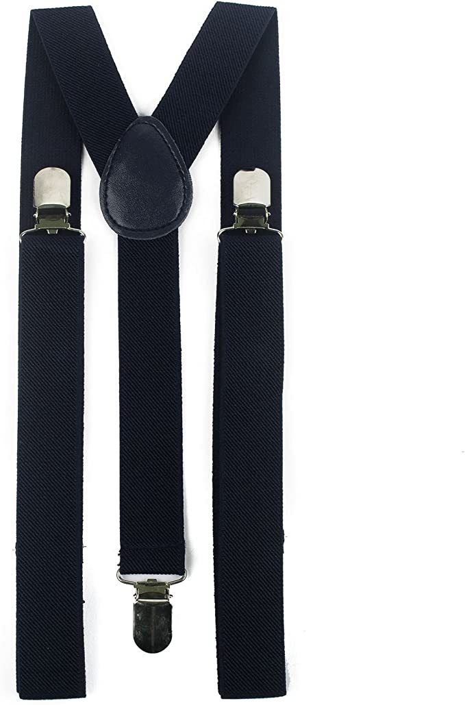 Mens 35mm Wide Unisex Plain Colourful Braces Heavy Duty Suspenders Adjustable