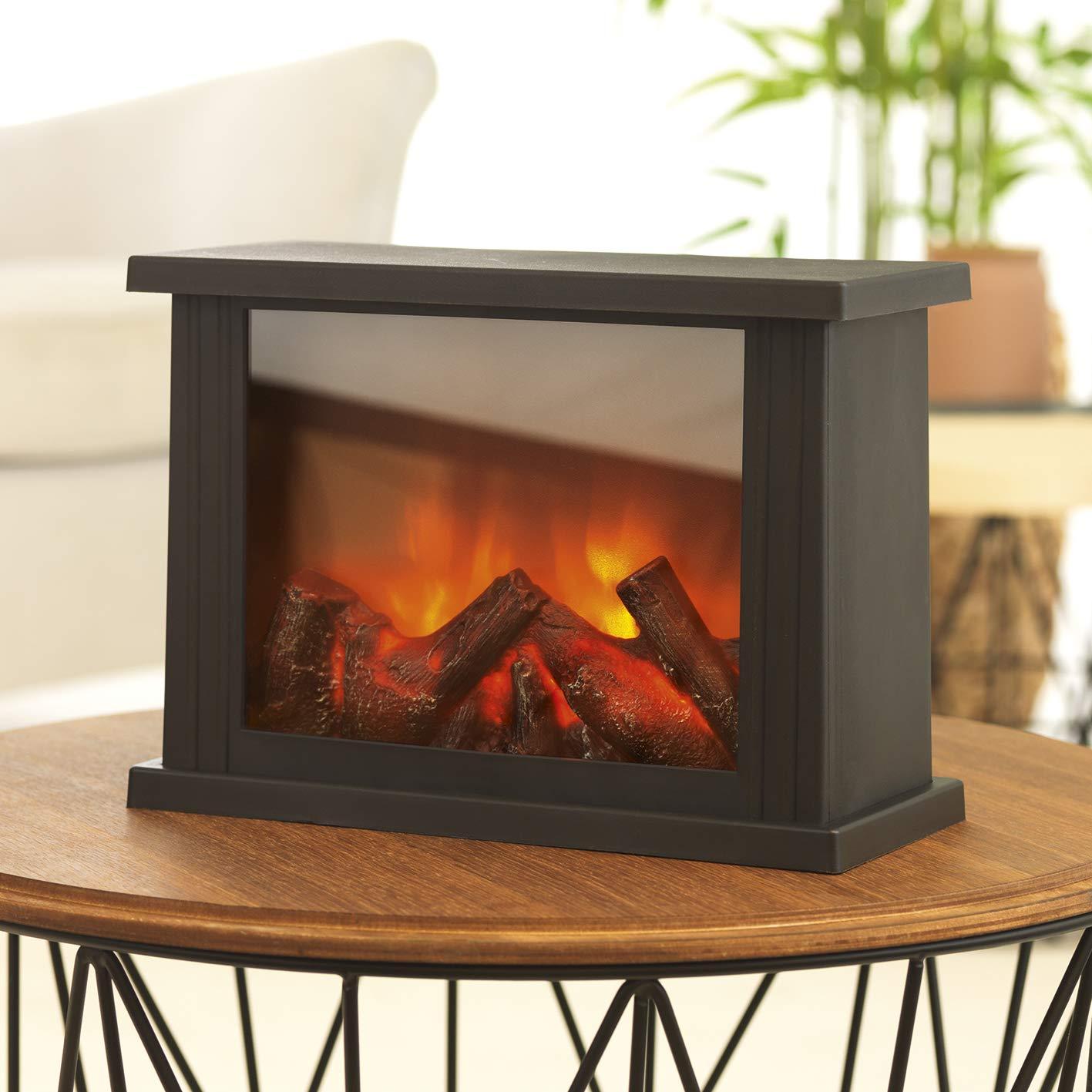 EASYmaxx 05330 LED-Tischkamin | Lodernde Flammen | Schwarz, 15 x 15 x 23,5 cm DS-Produkte
