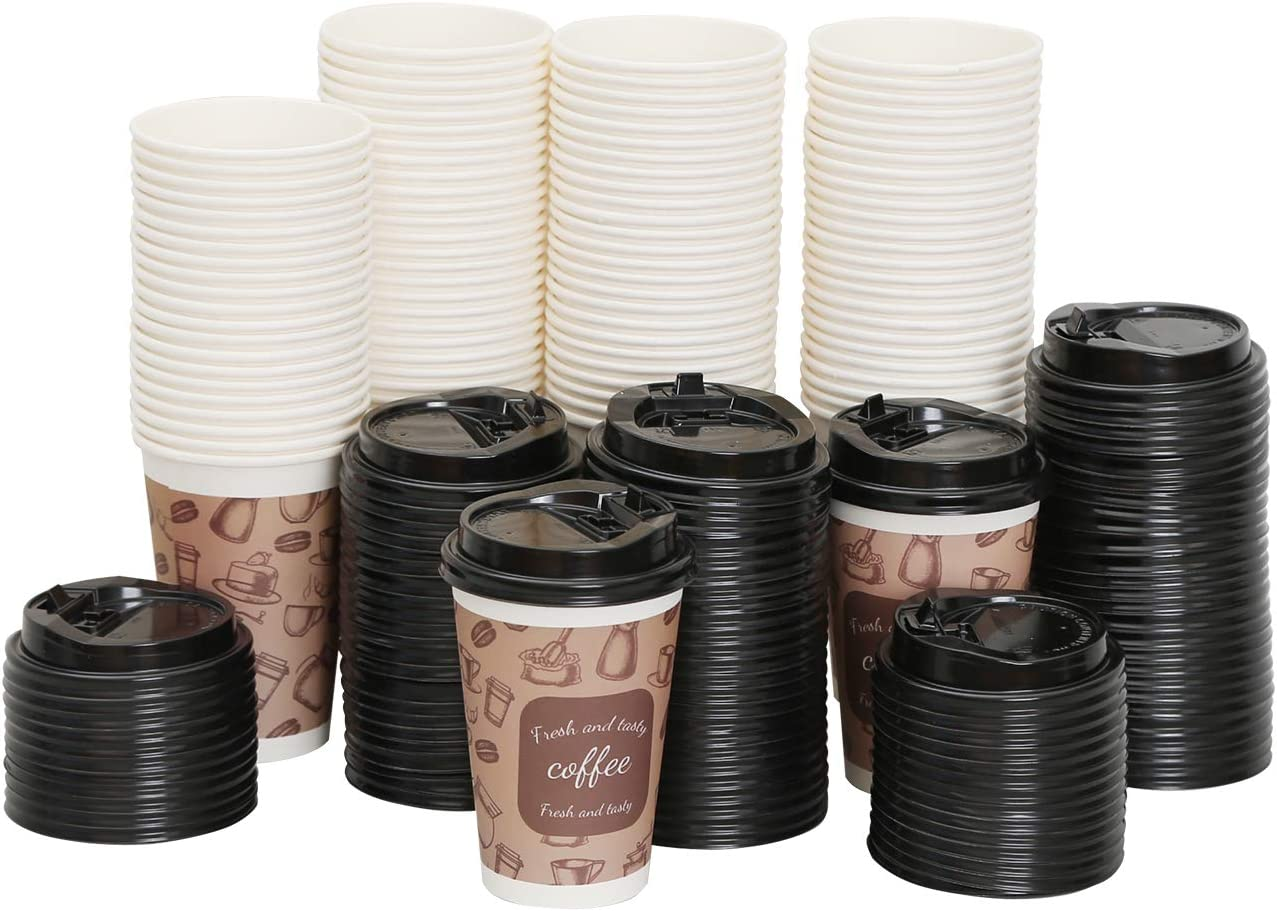 100 Pack Disposable Coffee Cups with Lids 12 oz Insulated Paper Cold Hot Beverage Drink for Party Home Restaurant Picnic Travel