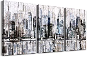 Urban architectural landscape abstract Canvas Prints Bathroom Wall Art for Bedroom Wall Decor Artworks Pictures Home Decor Wall Decorations for Living Room,Wood grain 3 Piece Modern Wall Paintings