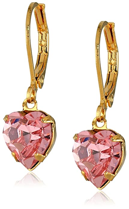 99781f947 Image Unavailable. Image not available for. Color: 1928 Jewelry Gold-Tone  Pink Genuine Swarovski Crystal Heart Drop Earrings