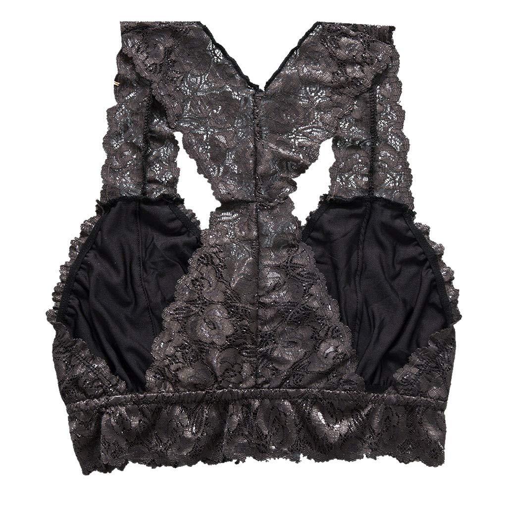 Women Sexy Floral Lace Lingerie Corset Bralette Bralet Bra Tank Cami Crop Sex Underwear Gray