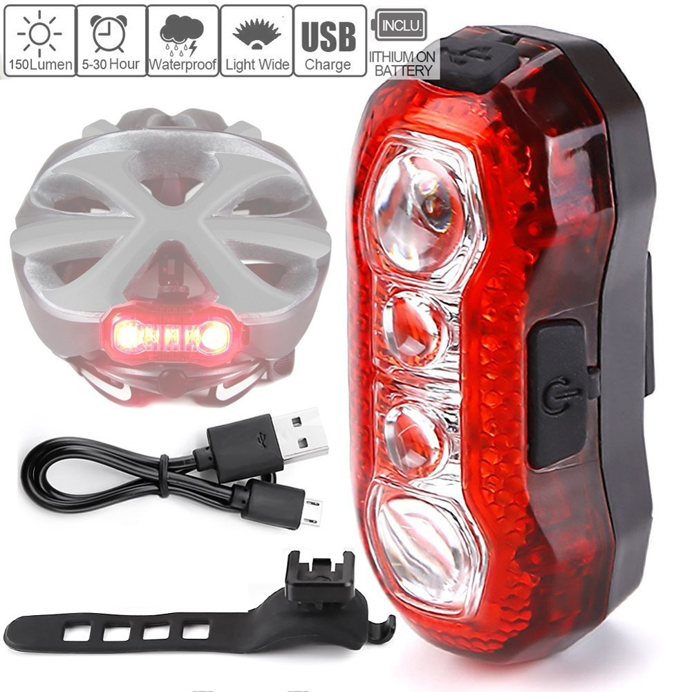 RAYPAL USB Rechargeable Rear Tail Light - Water Resistant - Fits for MTB & Road Bicycles, Helmets or Backpacks Easy Install for Kids & Children Adult