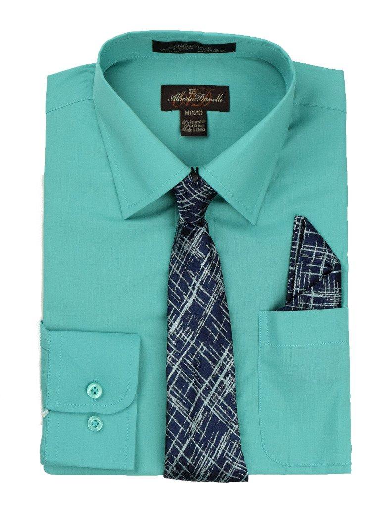 Alberto Danelli's Boys Long Sleeve Dress Shirt with Matching Tie and Handkerchief, 18, Lagoon
