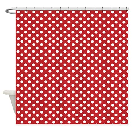 Red White Polka Dot Shower Curtain