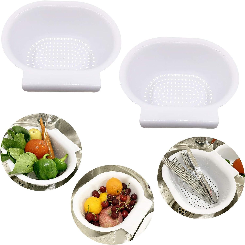 2PCS white Plastic Colanders/Strainer basket, beans washing vegetables and food basket hand free with hook on sink divider