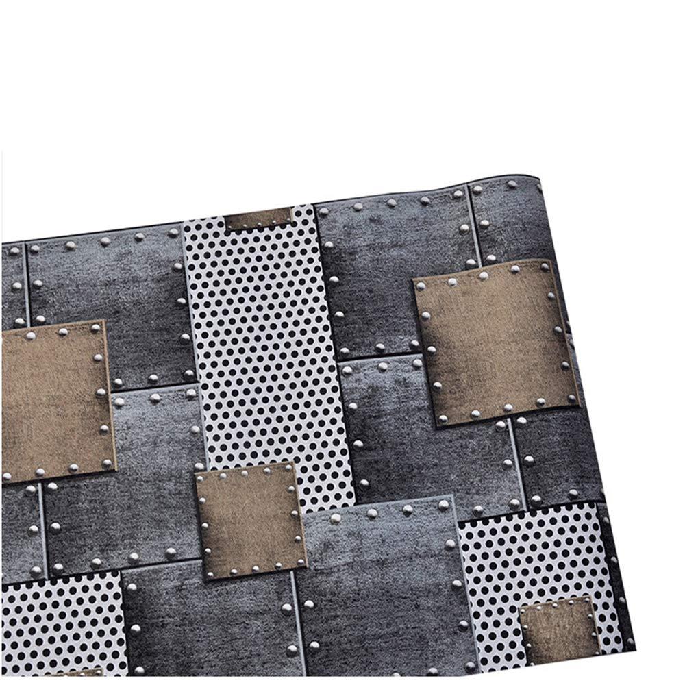 ZHAORLL Hoja De Metal Retro Viento Industrial Plancha De Hierro Parche Soldadura PVC Papel Tapiz Estudio Café Restaurante No Autoadhesivo 53 CM * 10 M: ...