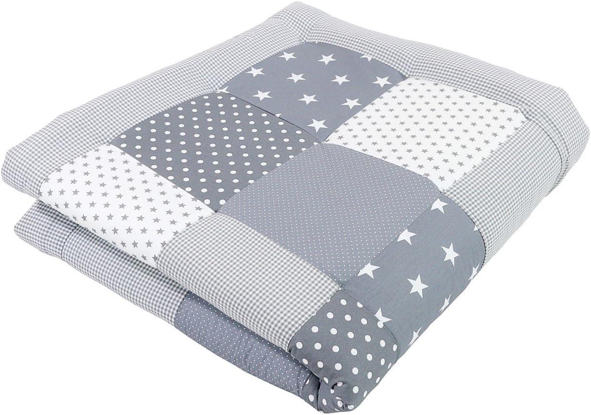 Alfombra para gatear de ULLENBOOM ® con estrellas grises (manta para bebé de 140x140 cm; ideal como colcha para el cochecito; apta como alfombra de juegos)