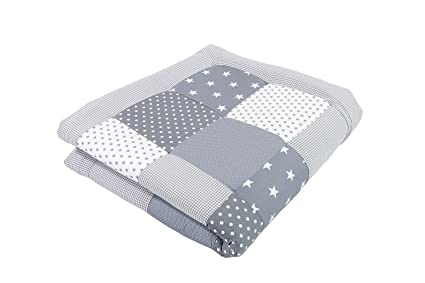 Alfombra para gatear de ULLENBOOM ® con estrellas grises (manta para bebé de 100 x