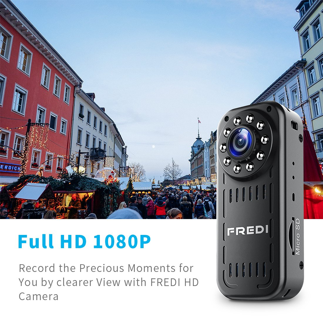 FREDI Hidden Camera 1080p HD Mini WiFi Camera spy Camera Wireless Camera  for iPhone/Android Phone/iPad Remote View with Motion Detection(Update