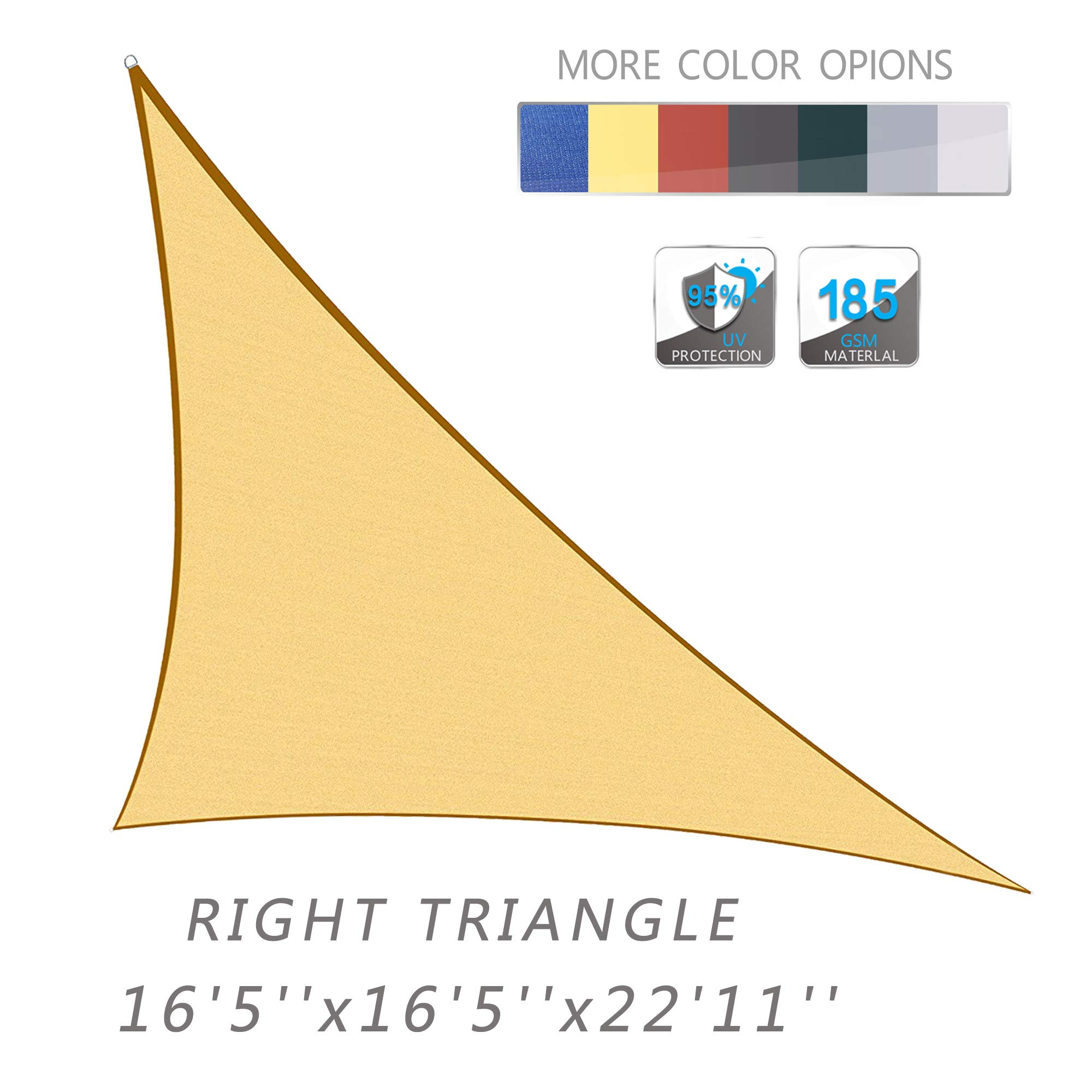 Love Story 16'5'' x 16'5''x 22'11'' Right Triangle Sand UV Block Sun Shade Sail Perfect for Outdoor Patio Garden by Love Story