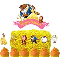 Set of Acrylic Beauty and The Beast Happy Birthday Cake Topper, Princess Belle Theme Birthday Party Suppliers, Disney…