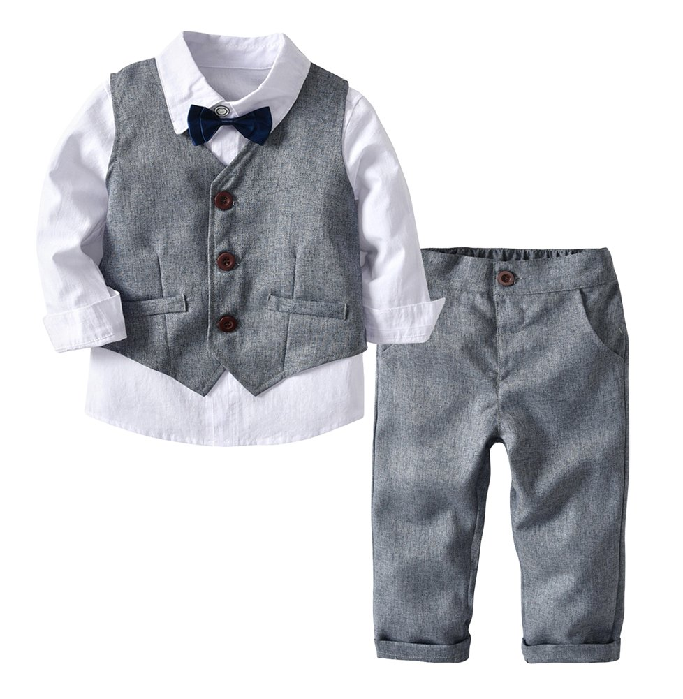 ezShe Little Boys 4Pcs Gentleman Outfit Vest Shirt Pants Bowtie Wedding Suit Set Gray 4T