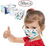 50 Qty Face Bandanas for Kids - 3Ply with Cute Print, Comfy Dust-Proof, Ear Loop, Facial Protective Cover