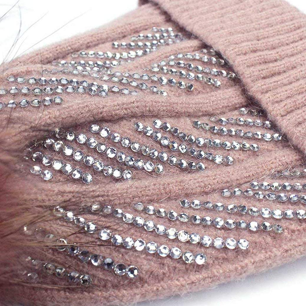 Winter Rhinestones Diamond Hat Real Fur Winter Hat for Women Dyeing Pom Poms Warm Hat Girl Wool Warm Cap