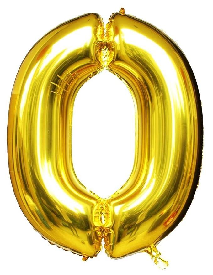 "1 opinioni per Langxun 40 ""Numero 0 Air-filled & Helium Gold Mylar palloncini per Compleanni"