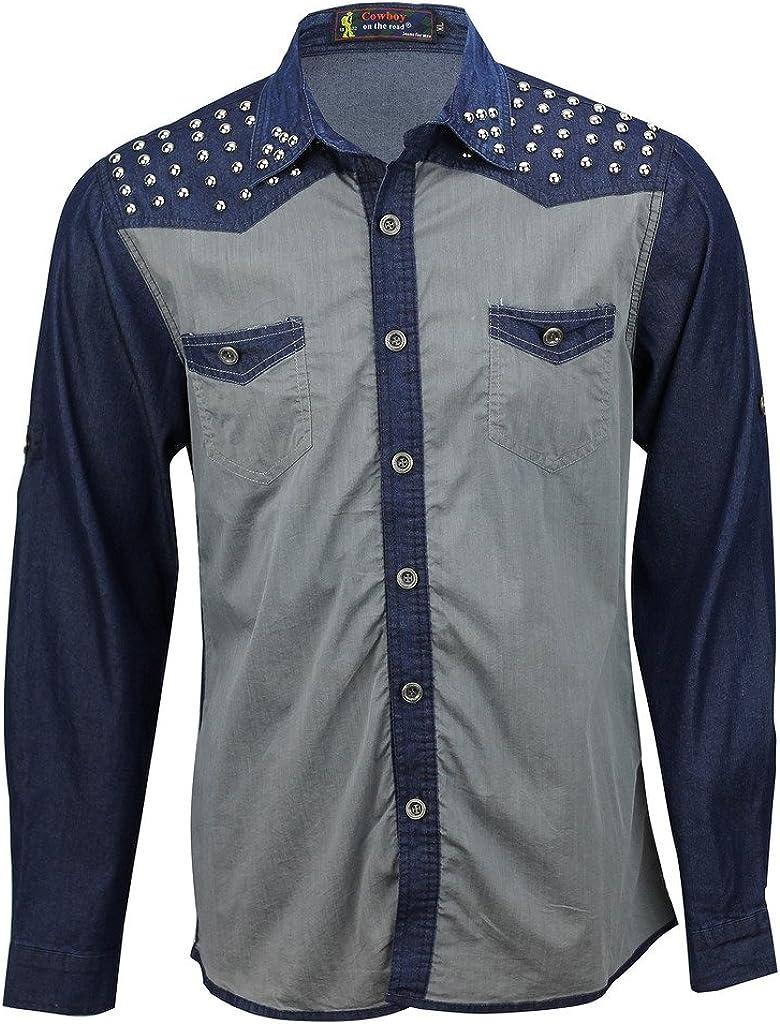 Cowboy - Camisa casual - para hombre Blue, Grey Medium: Amazon.es: Ropa y accesorios