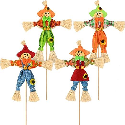 Blulu 4 Piezas de Cosecha de Halloween Espantapájaros Decoración Otoño Espantapájaros Jardín Pequeño Otoño Espantapájaros Decoración para Acción de Gracias, Fiesta, Aire Libre: Amazon.es: Hogar