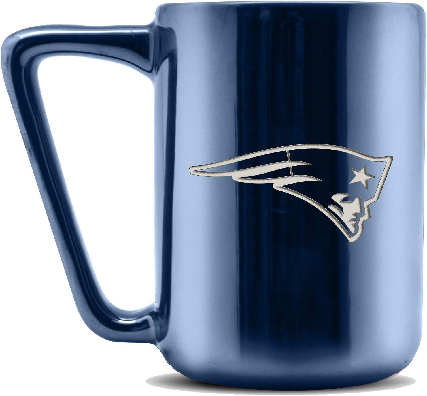 Metallic Finish Duck House NFL New England Patriots Ceramic Laser Engraved Coffee Mug 16oz