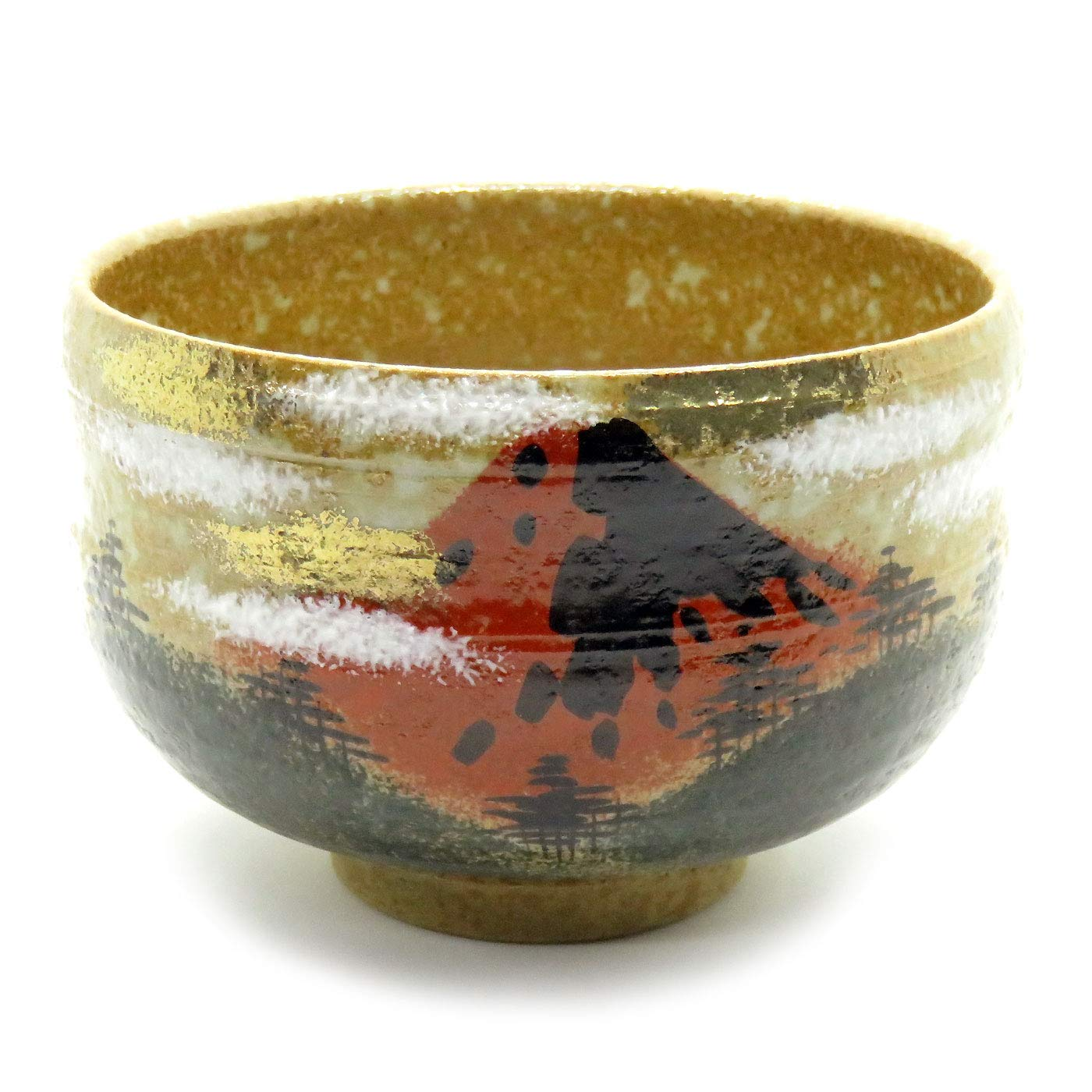 Kutani Japanese Matcha Bowl Red Fuji Yaki(Ware) by Kutani