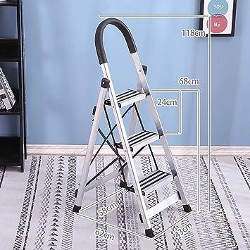 Escaleras Escalera de 3 pasos / 4 pasos, Escalera interior de aleación de aluminio, Escalera plegable, Portátil con alfombrilla antideslizante, Escalera de tijera doméstica, Ahorro de espacio, Escaler: Amazon.es: Bricolaje y herramientas