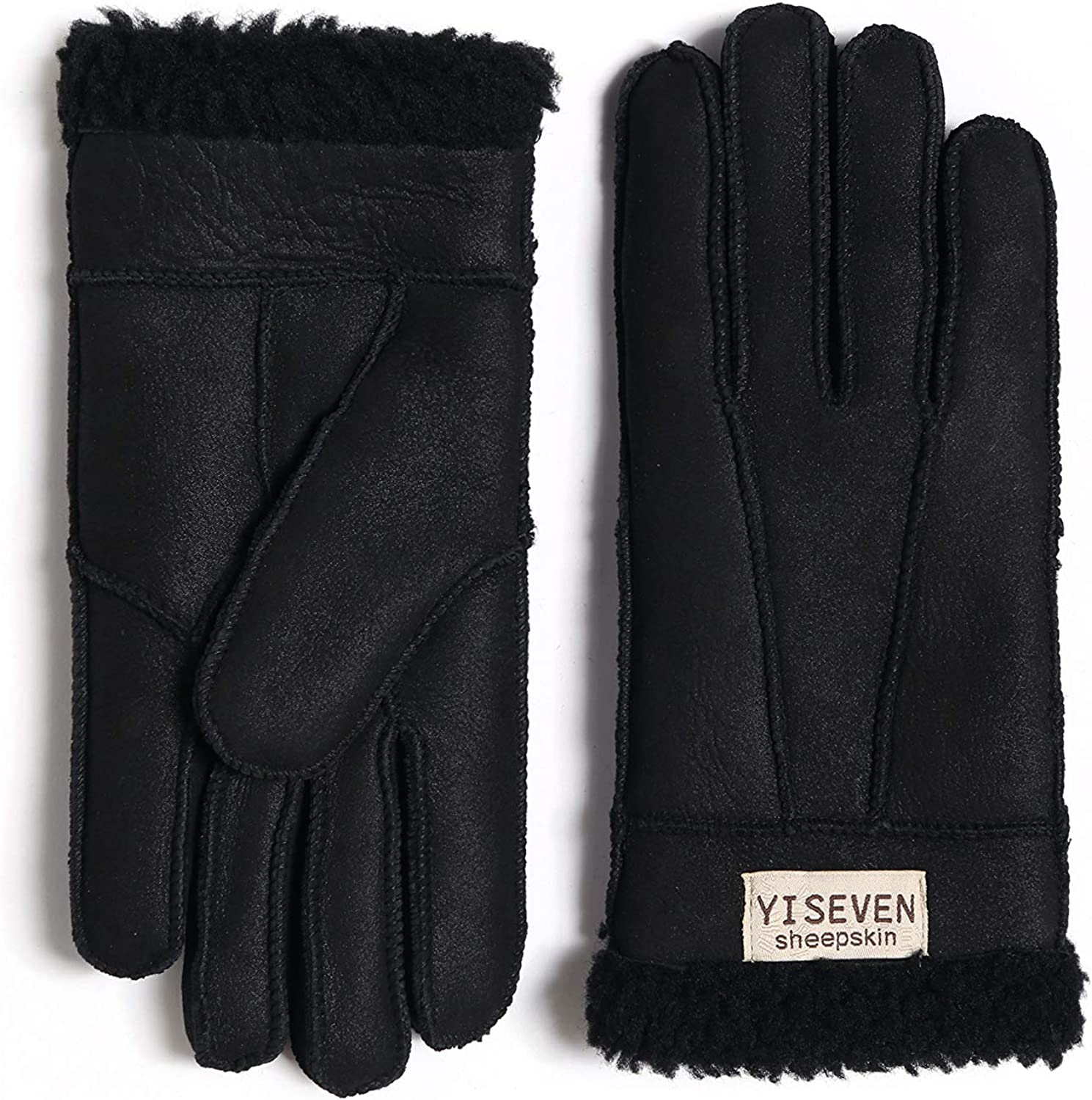 YISEVEN Womens Winter Sheepskin Shearling Leather Gloves Mittens Wool Cuffs