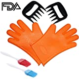 Silicone Grilling Gloves & Pulled Pork Bear Claws Set - Heat Resistant BBQ Grill Accessories & Barbecue Tools - FDA Approved and BPA Free (Grilling Gloves + Meat Claws)