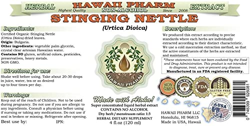 Stinging Nettle Alcohol-Free Liquid Extract, Organic Stinging Nettle Urtica Dioica Dried Leaf Glycerite Natural Herbal Supplement, Hawaii Pharm, USA 4 fl.oz