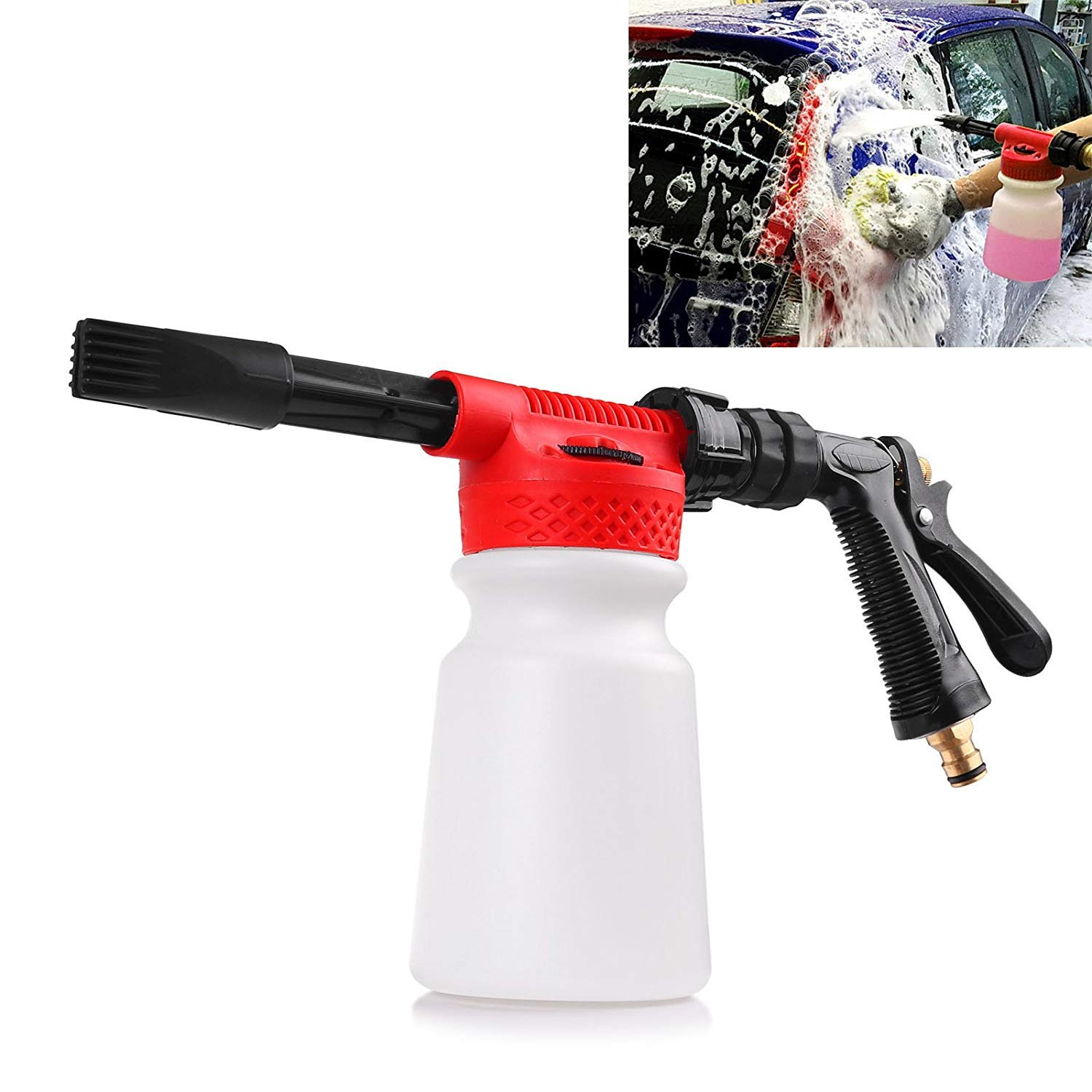 Houkiper Car Wash Foam Gun Soap,Car Foam Blaster Foam Sprayer Cleaning Gun Bottle,900ml Water Foam Shampoo Gun for Van Motorcycle Vehicle,Garden, Leak Free Connection