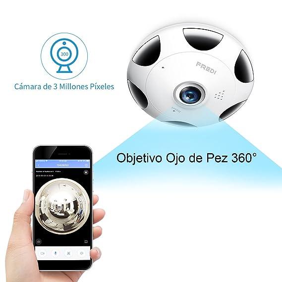 3 Millones Píxeles/1536P HD IP WiFi Cámara de Seguridad FREDI, Cámara de Vigilancia Panorámica de 360 Grados, Deteccion de Movimiento con Visión ...