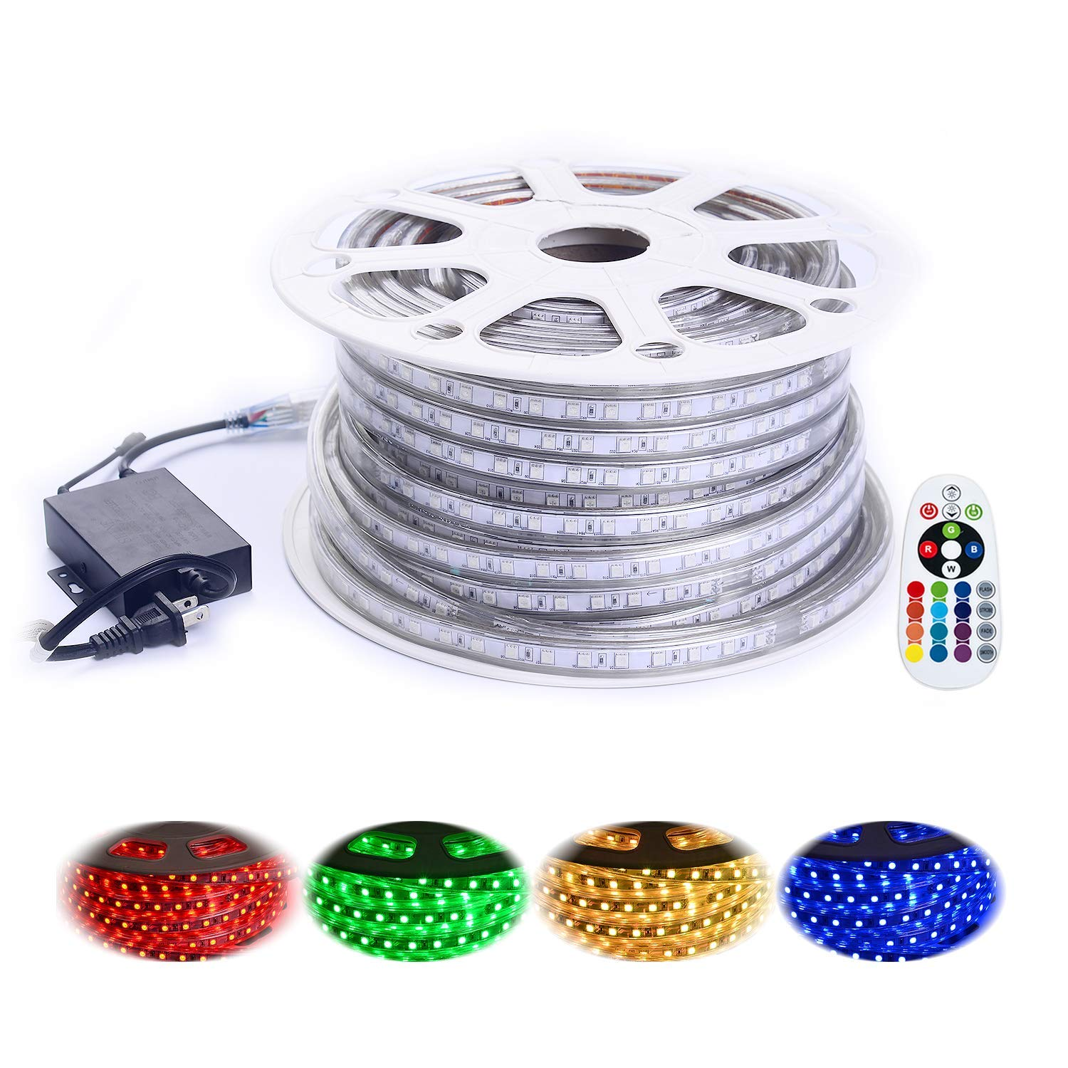 Shine Decor 110V 7x15mm Led RGB Strip Light, 14 Colors Rope Lights, Waterproof 5050 60Leds/M, 150ft