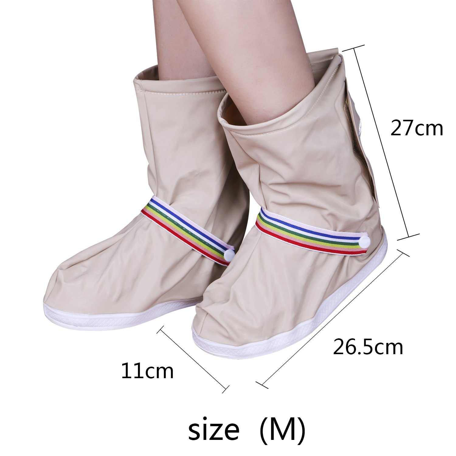 Rain Shoe cover, Rain Boot Waterproof with Velcro and Adjustable Tied Rope Defend for Rain, Snow, Mud