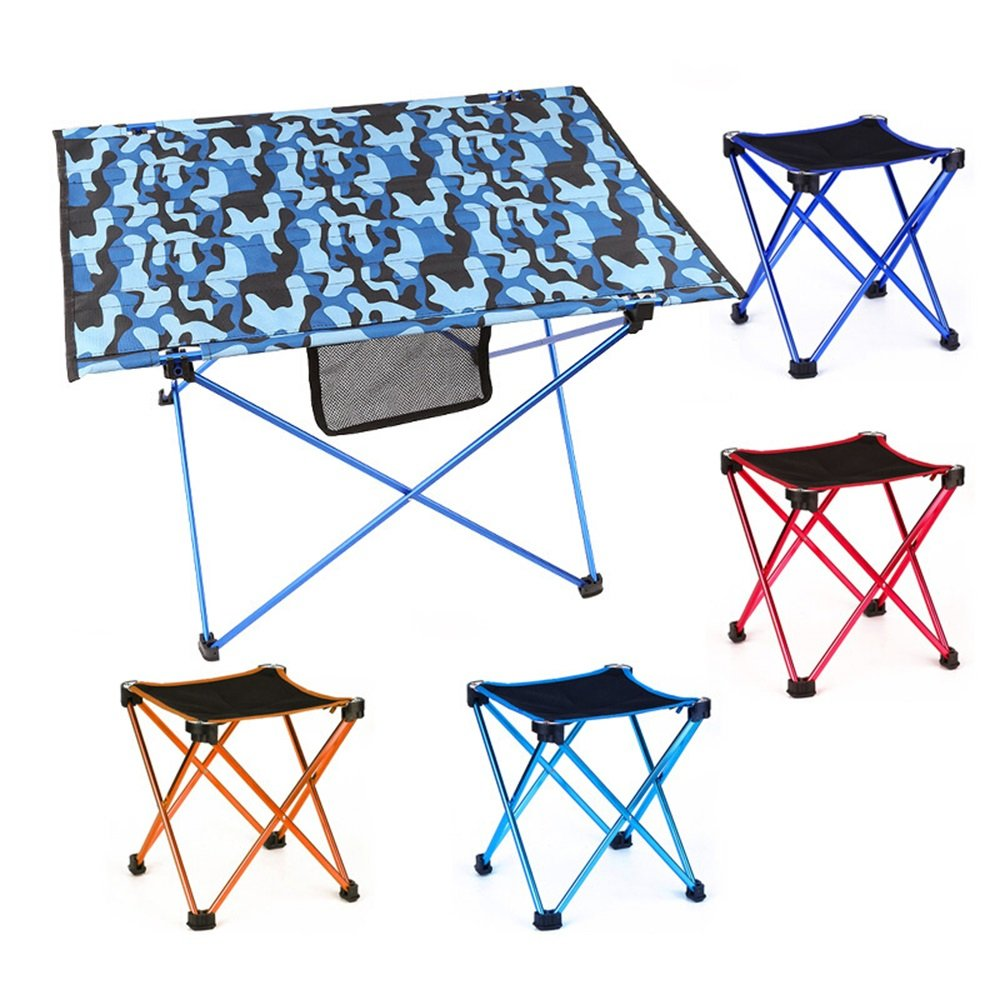 HUO,テーブル アウトドアカモフラージュ折りたたみテーブルアルミバーベキューキャンプビーチテーブルと椅子-70 * 50 * 45CM 多機能 (色 : Blue+4 stool)  Blue+4 stool B07HD2CMBX
