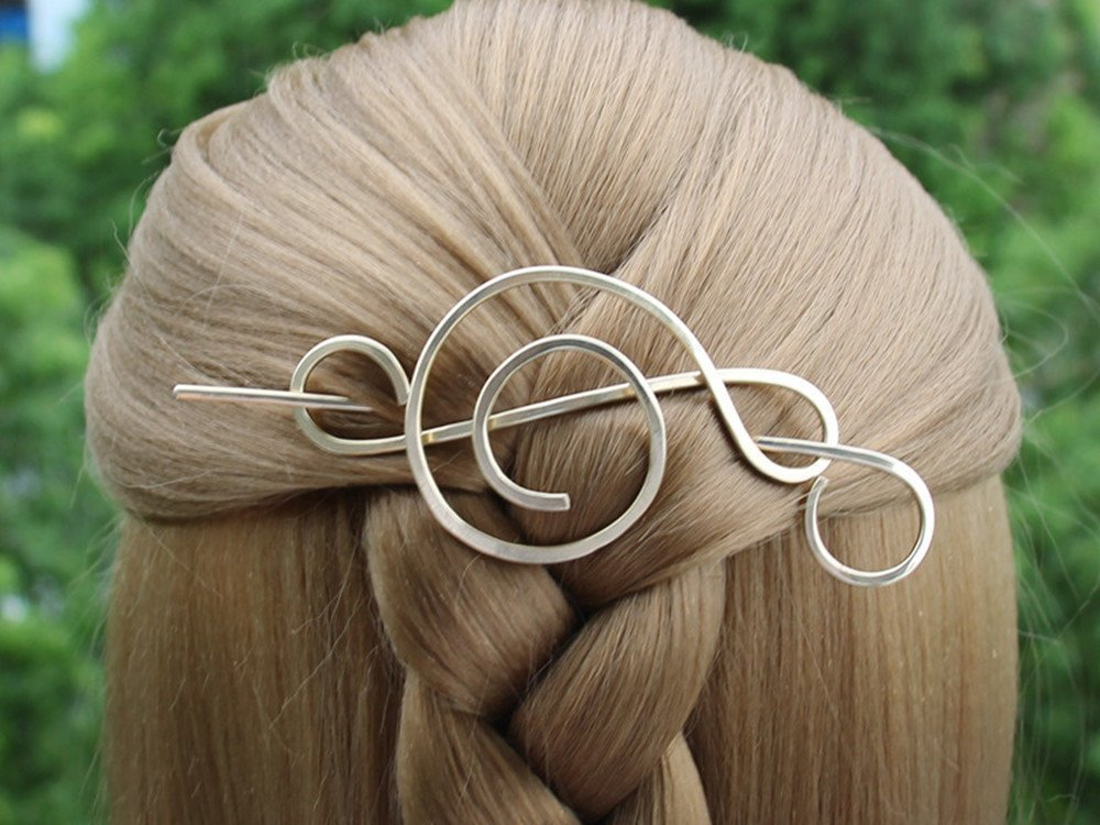 Bun Holder Long Hair Accessories Open Spiral Sterling Silver Hair Stick Hair Pin Scarf Pin Metal Shawl Stick Women Knitting