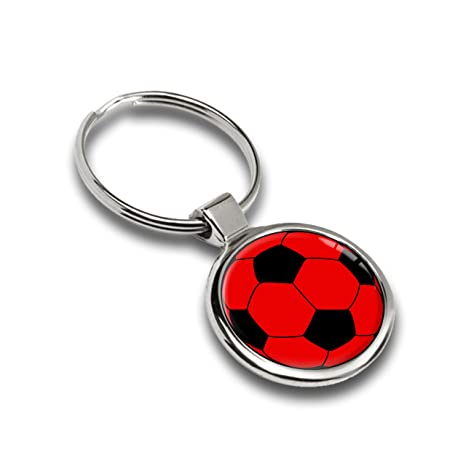Llavero de Pelota de fútbol, color rojo metal Keyring Llave ...