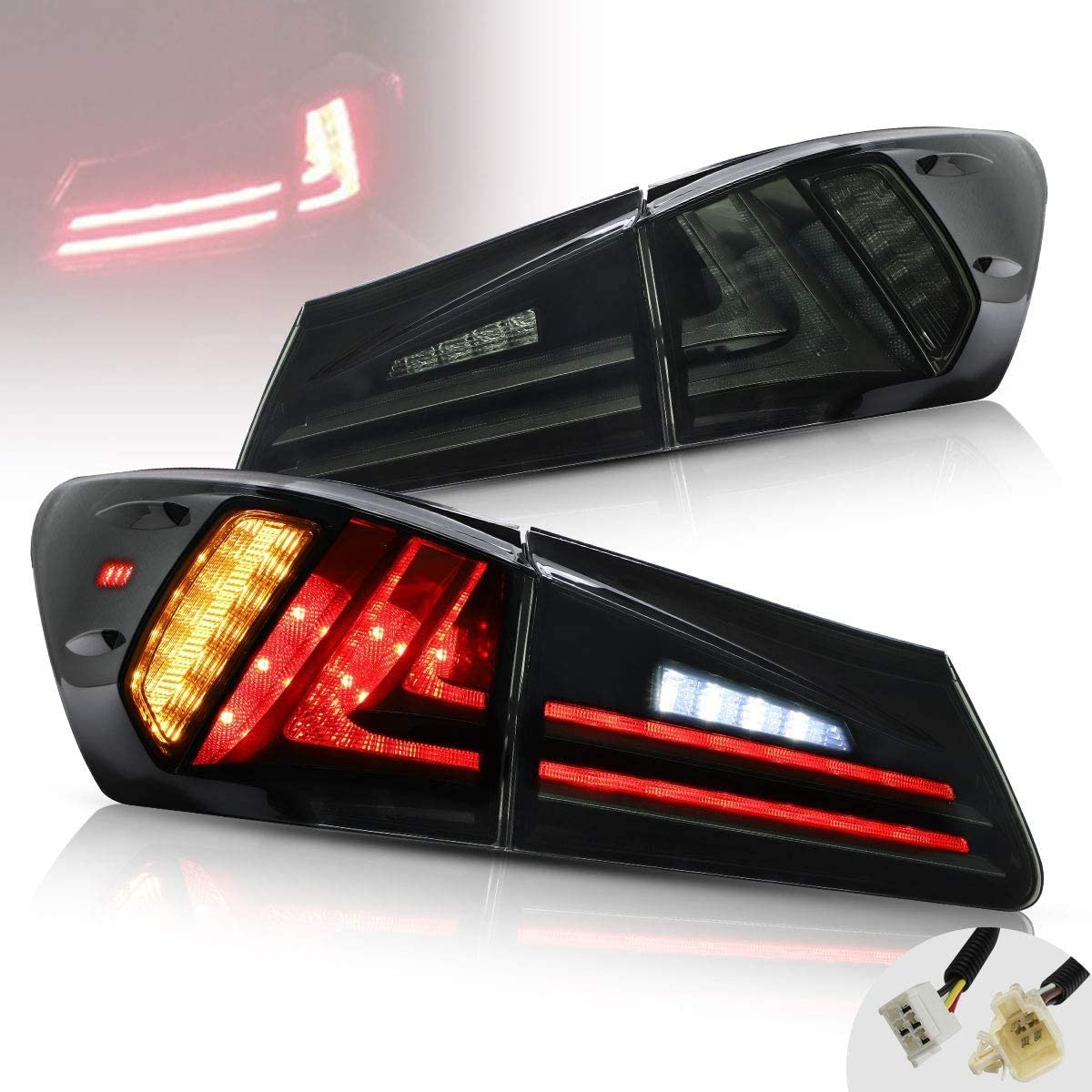 USEKA LED Back Light 2006-2012 For IS 250 350 LED DRL Rear lights Red And Smoked Assembly