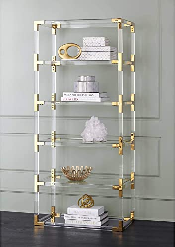 Hanna 70 3/4″ Clear Acrylic and Gold 6-Shelf Open Bookcase