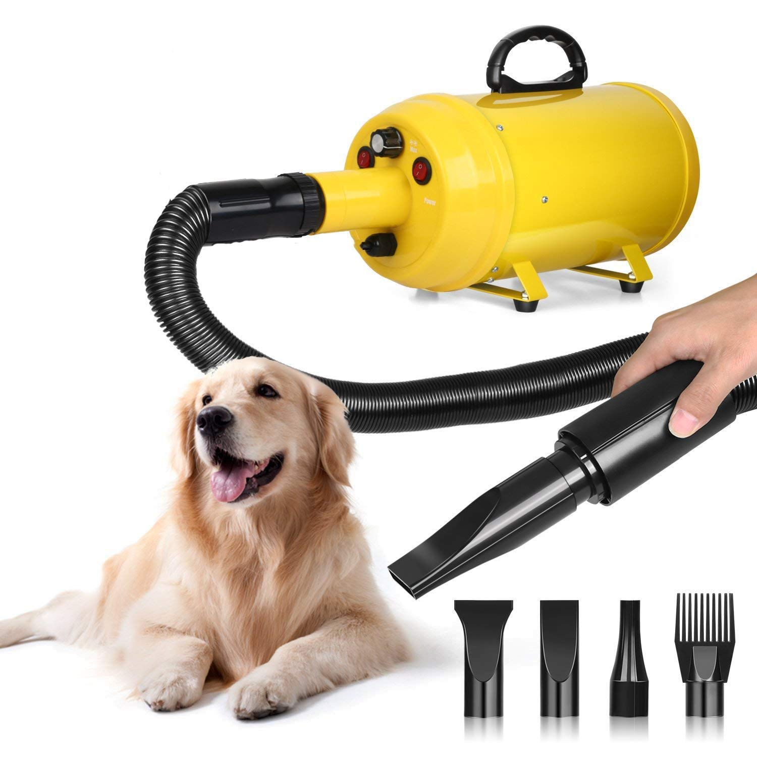 amzdeal Dog Dryer Dog Hair Dryer 3.8HP 2800W Pet Blow Dryer Professional Dog Grooming Dryer Dog Blower with Adjustable Speed and Temperature, Spring Hose, and 4 Different Nozzles