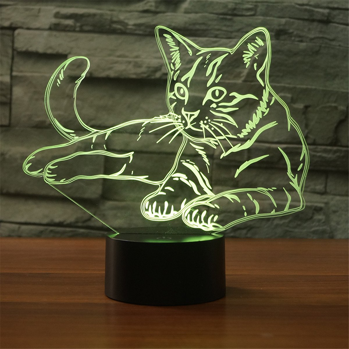 Cat 3D Illusion Lamp YKL WORLD Led Night Light Touch 7 Changing Color Toys Bed Room Decor Lighting Christmas Birthdays Gifts for Boys Girls