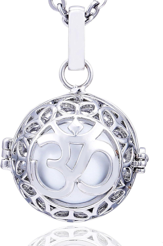 Morella Collar ángel de la Guarda de Acero Inoxidable 70 cm con Colgante Mantra Om y Bola de resonancia de circonita para Damas en Bolsa para Joyas