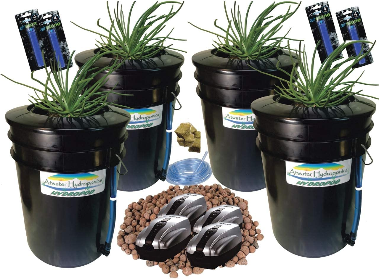 The Atwater HydroPod – Standard 4 SITE w 8 Baskets A C Powered Dual DWC Deep Water Culture Recirculating Drip Hydroponic Garden System Kit – 5 Gallon Size System