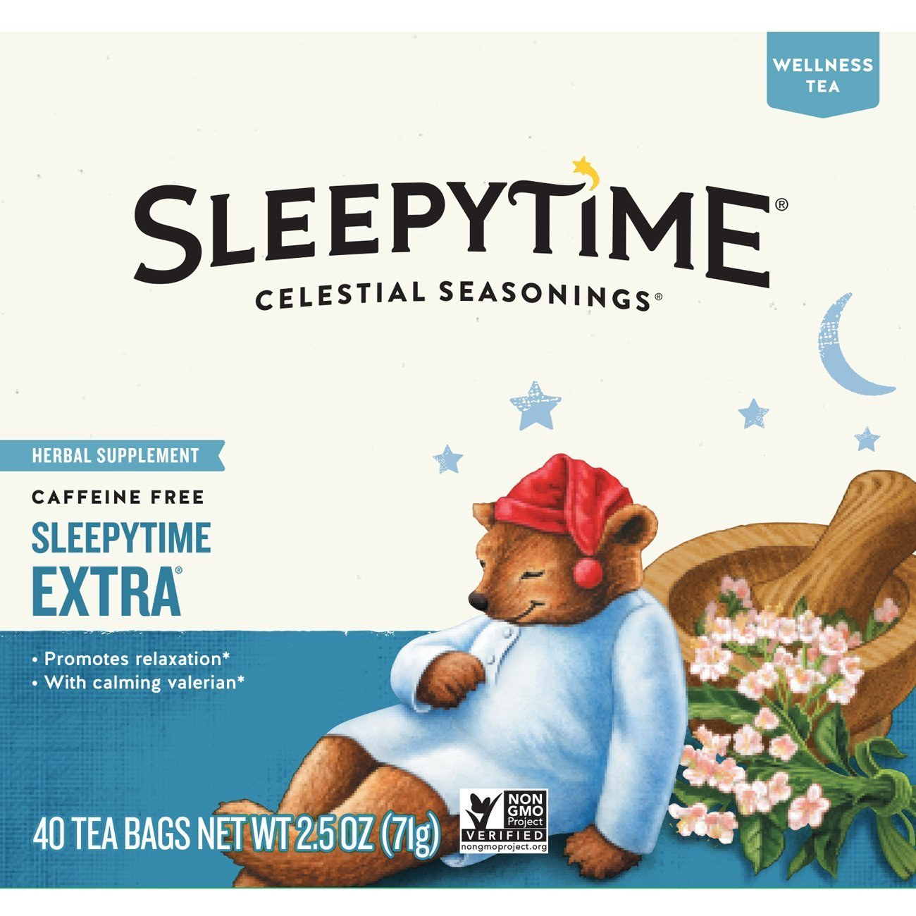 Celestial Seasonings Wellness Tea, Sleepytime Extra, 40 Count (Pack of 6)
