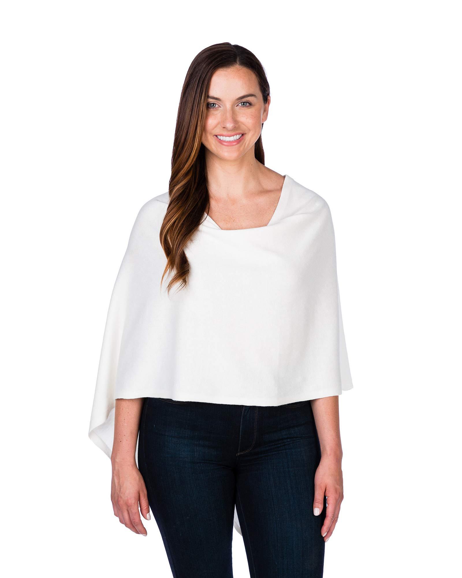 Caroline Grace by Alashan Trade Wind Cashmere Blend Dress Topper Poncho - White
